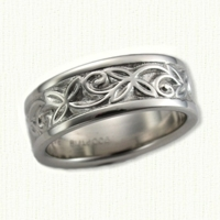 #26: 14kt white Trileaf Knot Weddding Band