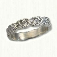 #25: 14kt white Sculpted Trileaf Knot Wedding Band