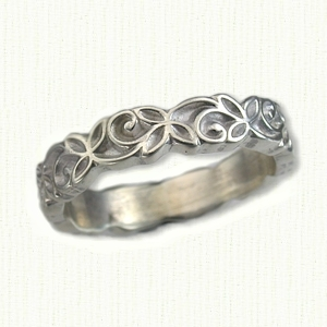 Metal wedding bands with engraving or filigree, no stones