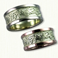Two Tone Triangle knot with Oak Leaves Wedding Band