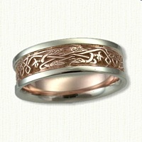 Celtic Triangle Knot Wedding Band with 2 Ravens. 14kt rose center/white rails