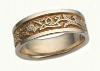 14kt yellow Triangle & Thistle Wedding Rings