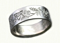 14kt white Reverse Etch Triangle & Thistle Wedding Rings