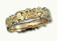 Sculpted 14kt yellow Triangle Knot Band with Thistles