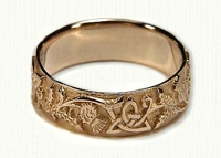 14kt yellow Triangle Knot Band with Thistles No Rails, Straight Edges