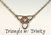 Pierced Triangle with Trinity Knot on chain