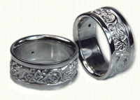 Custom 14kt white gold Triangle Knot Wedding Rings with Vine and bezel set diamonds