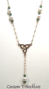 Custom Triangle Y necklace with pearls and gemstones