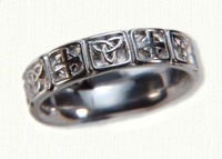 14kt white gold Triangle Knot with alternating Celtic Cross Wedding Band - no rails