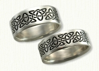 14KW Reverse etch Celtic Heart & Triangle Knot Wedding Band with black paint antiquing