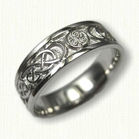 14kt White Gold Celtic Triskele and Lindesfarne Knot Band -6.0 mm width