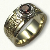 14kt Yellow Gold Triskele Wedding Band with Bezel Set 5.0 mm Round AA Grade Garnet