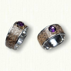 14kt White Gold Celtic Triskele Knot Bands with Bezel Set Amethysts