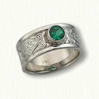 Celtic Triskele Knot Band with Bezel Set Chatham Emerald