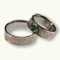 14kt White Gold Celtic Triskele Wedding Band Set - 5.0 mm Bezel Set Emerald