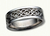 14KW Twin Hearts Celtic Wedding Bands