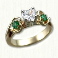 14KY Celtic Twin Hearts Engagement Ring with Heart shaped diamond and two small emeralds