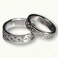 14kt White Gold Celtic Two Strand Knot Wedding Band Set