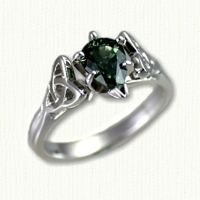 14Kt white gold 'Vanessa' Engagement Ring set with a pear shaped green sapphire