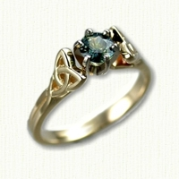 14Kt yellow gold Vanessa Engagement Ring with round green sapphire