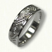 14kt white gold Celtic Wave and Arches Knot Wedding Band
