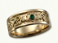 14KY Continuous Heart Claddagh Band with bezel set emerald