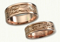 14Kt Rose Winged Dragon and Hound Wedding Ring