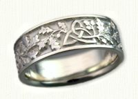 14kt white gold Triangle Knot Wedding Band with Oak Leaves and Acorns