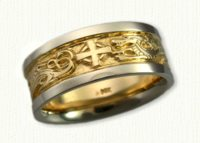 Winged Dragon & Cross Band - 14kt yellow center, white rails