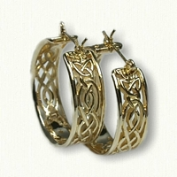 14kt Yellow Gold Celtic Wicklow Knot Hoop Earrings - Pierced