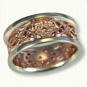 Custom Pierced Wicklow Knot Wedding Bands. 14kt Rose Gold Center with 14kt White Gold Rails