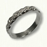 14kt White Gold Celtic Wicklow Knot Band -Sculpted
