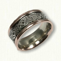 14kt Two Tone Celtic Wicklow Knot Wedding Band