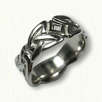 14kt White Gold Celtic Wicklow Sculpted Wedding Band - 8 mm width