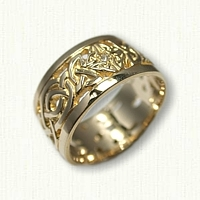 14kt Yellow Gold Celtic Wicklow Knot Wedding Band - 10 mm width Pierced out with small diamonds