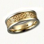 Celtic Kinross Knot Band - 14kt yellow center/14kt white rails