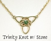 Triangle with Trinity Knot and green sapphire